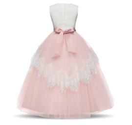 Communie jurk bruidsmeisje Deluxe Classic roze wit + krans