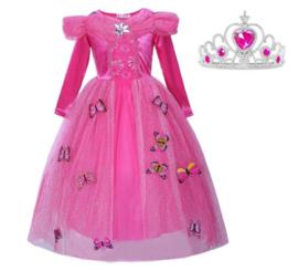 Prinsessenjurk roze vlinders Luxe + GRATIS kroon
