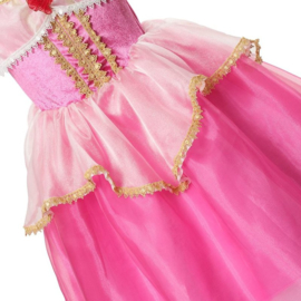 Prinsessenjurk fel roze goud Deluxe + kroon en toverstaf