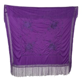 Spanish Flamenco Dance Shawl purple with purple flowers Square