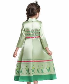 Anna jurk groen roze + GRATIS kroon groen