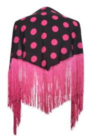 Spanish Flamenco Dance Shawl black with pink dots