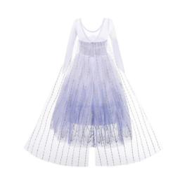 Elsa IJskristallen jurk wit blauw Deluxe met sleep + kroon