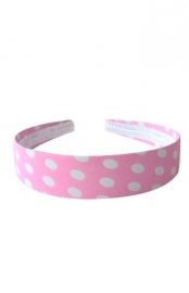 Headband pink white dots