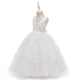 Communie jurk bruidsmeisje Deluxe Classic wit + krans