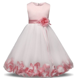 Communie bruidsmeisjes jurk roze wit met bloemen + krans