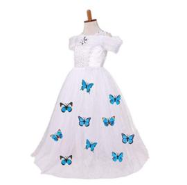 Prinsessenjurk wit vlinders Luxe + GRATIS handschoenen