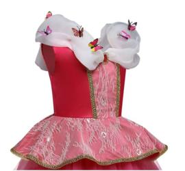 Prinsessenjurk roze vlinders DeLuxe + GRATIS kroon