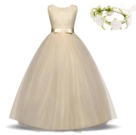 Communie jurk prinsessenjurk champagne + bloemenkrans