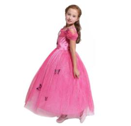 Prinsessenjurk roze vlinders korte mouw Luxe + GRATIS kroon