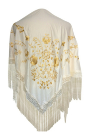 Flamenco dance shawl off white golden flowers Medium
