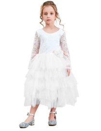 Communie bruidsmeisjes jurk wit kant laagjes + bloemen krans