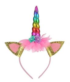 Eenhoorn Unicorn verkleed set regenboog + GRATIS haarband