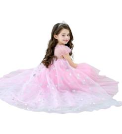 Elsa jurk sneeuwvlok Luxe roze + GRATIS kroon