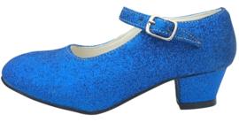 Spaanse schoenen konings blauw glitter