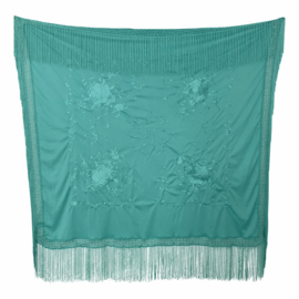 Spanish Flamenco Dance Shawl sea green with flowers Square