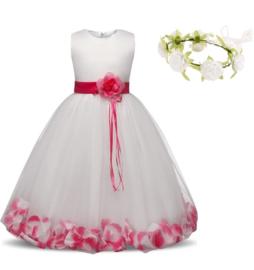 Communie bruidsmeisjes jurk wit roze met bloemen + krans