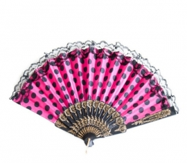 Flamenco fan pink black