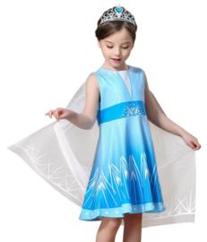 Elsa jurk ster Basic met sleep + GRATIS kroon