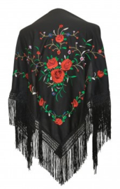 Flamenco dance shawl black red roses Medium