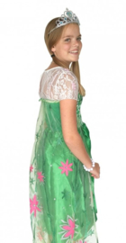 Elsa jurk groen met sleep Luxe + GRATIS ketting