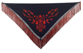 Spanischer Manton Schwarz/Rot Fransen rot schwarz -  Größe L