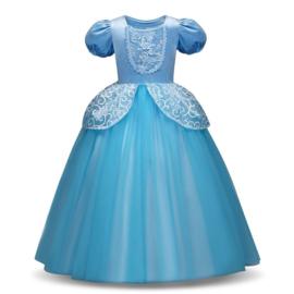 Prinsessenjurk licht blauw Deluxe + GRATIS kroon