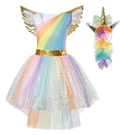 Eenhoorn Unicorn jurk regenboog + GRATIS haarband