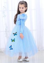 Prinsessenjurk blauw vlinders Luxe + GRATIS kroon