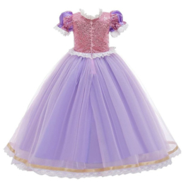 Prinsessenjurk paars roze Deluxe + GRATIS kroon paars