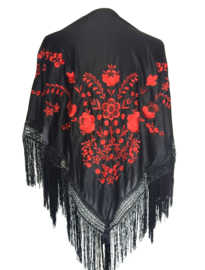 Flamenco dance shawl black red Medium