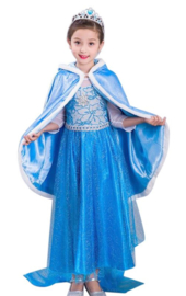 Prinsessen cape blauw + GRATIS kroon