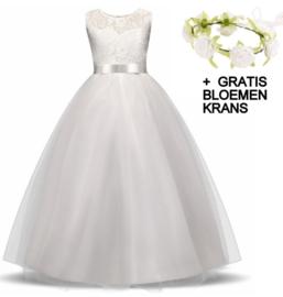 Communie jurk prinsessenjurk wit + bloemenkrans