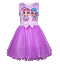 LOL Surprise jurk prinsessen paars + GRATIS haarband
