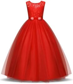 Communie jurk prinsessenjurk rood + bloemenkrans