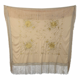 Spanish Flamenco Dance Shawl beige with beige flowers Square
