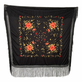 Spanish Flamenco Dance Shawl black red gold Square