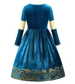 Prinsessenjurk blauw goud Deluxe + GRATIS kroon