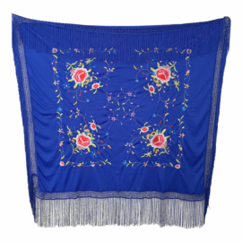 Spanish Flamenco Dance Shawl Royal Blue with flowers Square