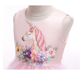 Eenhoorn Unicorn jurk licht roze Prinsessen + GRATIS haarband
