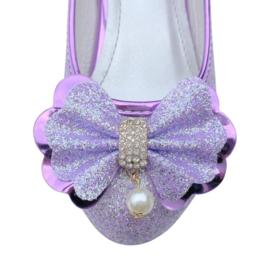 Spaanse schoenen paars glitter strikje