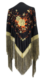 Flamenco dance shawl black orange gold Large