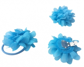 Flamenco schoenclip blauwe bloem