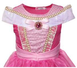 Prinsessen jurk fel roze Luxe met broche + GRATIS kroon