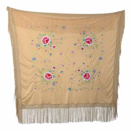 Spanish Flamenco Dance Shawl beige with colored flowers Square