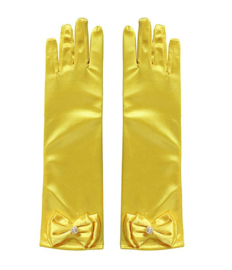 Prinsessenjurk gele vlinders korte mouw Luxe + handschoenen