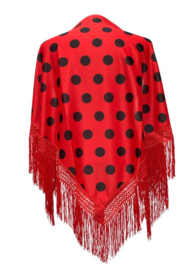 Spanish Flamenco Dance Shawl red with black dots