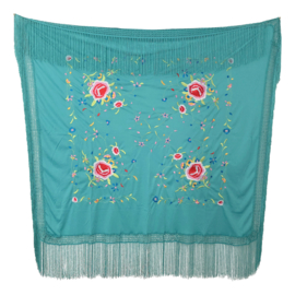 Spanish Flamenco Dance Shawl sea green with colored flowers Square