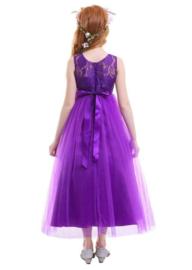 Communie jurk prinsessenjurk paars + bloemenkrans