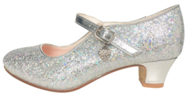 Flamenco shoes silver glittering heart